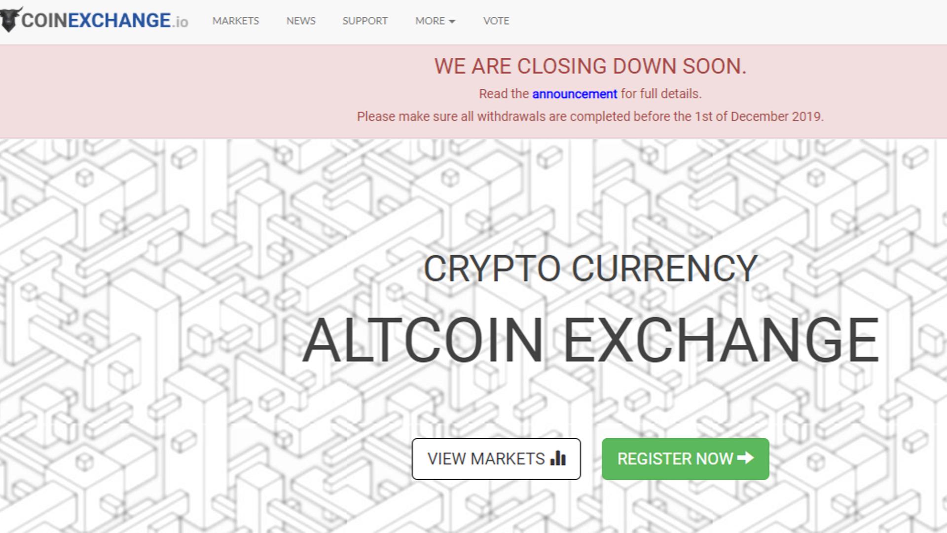CoinExchange,閉鎖